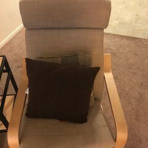 Chair , bed, dresser , pillows , sofa
